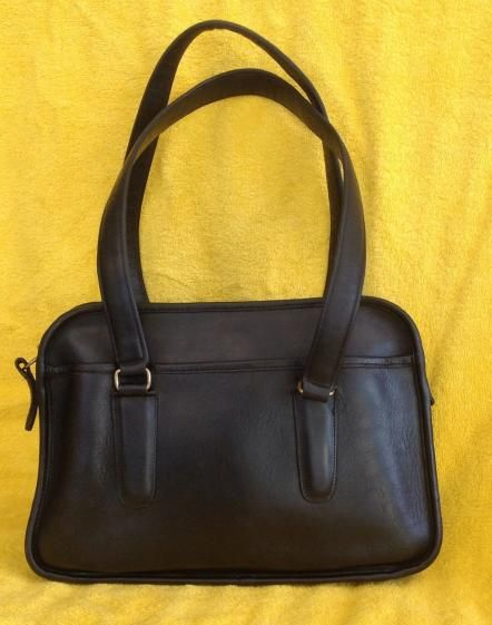 Round She Goes - Market Place - Vintage COACH Black Leather Flight Bag Satchel Made in NYC 1980's Long Straps