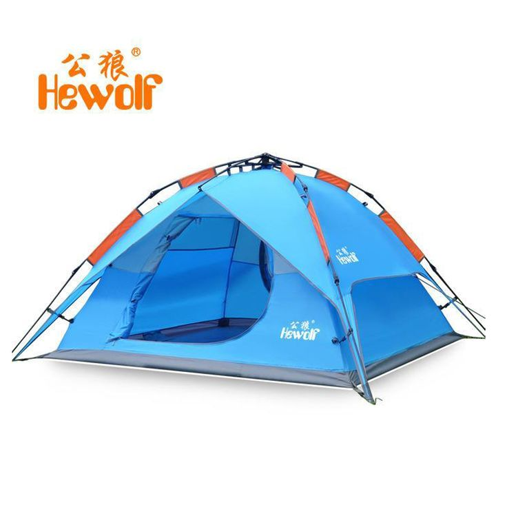HEWOLF 200*180cm automatic tent 3 person 4 outdoor equipment tourist tents camping family travel Double waterproof tent 2