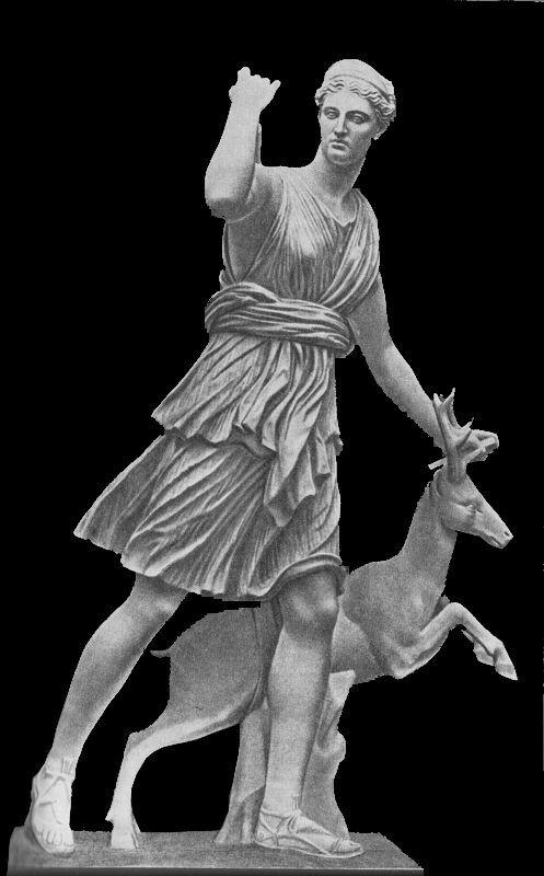 Артемида, богиня-охотница, с колчаном за плечами. (Статуя IV в. до н. э.)