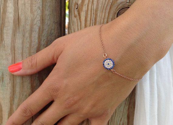 Evil eye bracelet rose gold bracelet by JewelryFamousWorld on Etsy