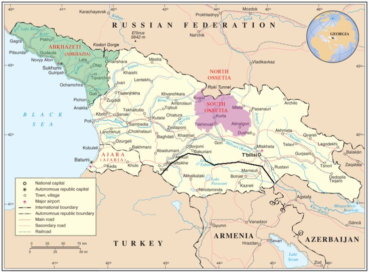 Map of Georgia and disputed territories including Abkhazia, South Ossetia, and Ajara.  Detailed map with rivers and cities. as well as lat/long markings.
