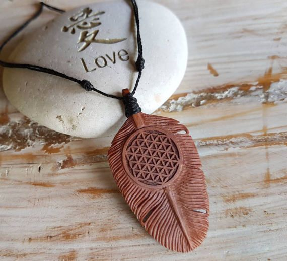 Feather Necklace Hand Carved from 3 types of Timberwith Flower