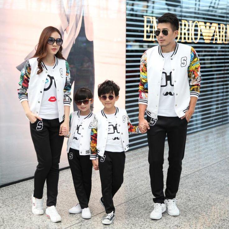 Family Baseball Clothing Set Clothes for Mother Daughter Father Son Boys Girls Women Men Uniform Family Set  Black White 3XL TX8
