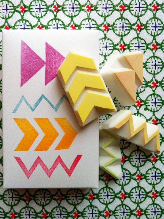 GEOMETRIC rubber stamp set. hand carved rubber stamp - handmade jornaling rubber stamp -set of 4 - no2 via Etsy