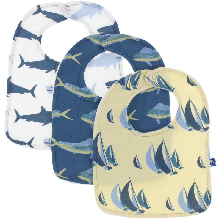 KicKee Pants 3pc Bib Set (Wallaby Sailboat Race, Twilight Dolphin Fish & Natural Megalodon)-PRESALE