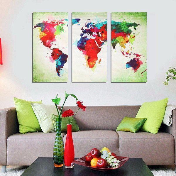 3pcs decoração colorido mapa do mundo pintura de parede arte imagem sem moldura pintura da lona