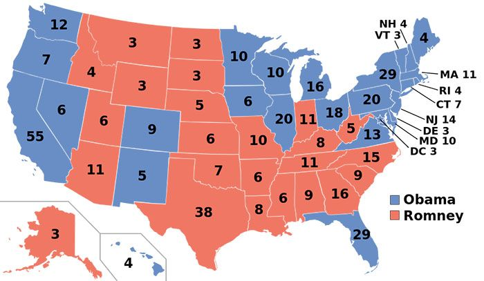 The Southernization of America in 12 maps: U.S. map 2012 electoral college/presidential election results with former slave states voting for Mitt Romney and former free states voting for Barack Obama.