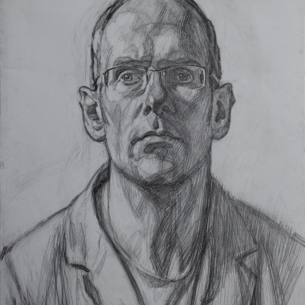 Andrew James 'Self-Portrait 2013' Charcoal on Paper 18 x 14