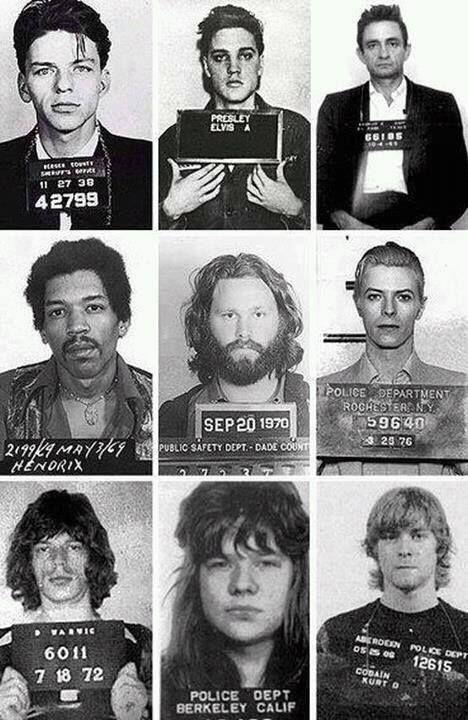 Frank Sinatra, Elvis Presley, Johnny Cash,Jimmy Hendrix,Jim Morrison, Mick Jagger,Axel Rose, Kurt Cobain