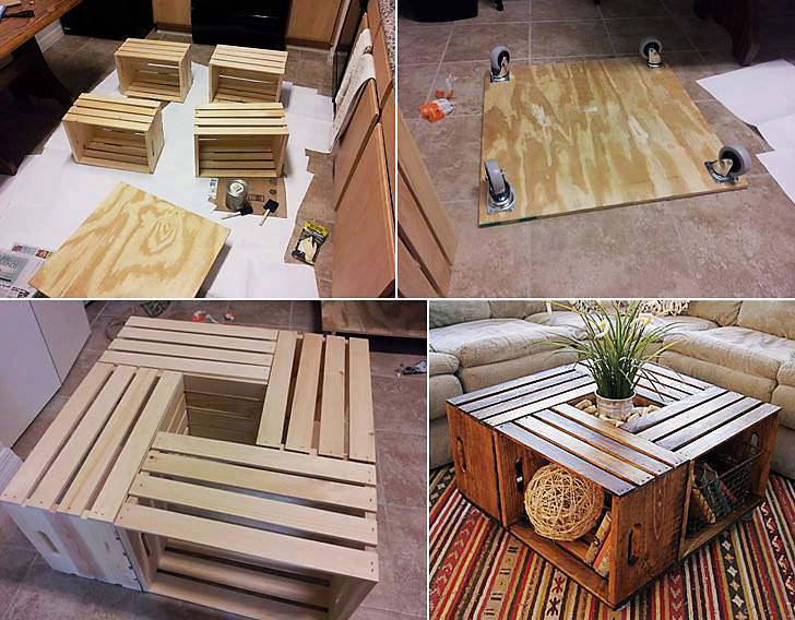 How To Make A Coffee Table Out Of Old Wine Crates Easy DIY Project http://removeandreplace.com/2013/03/25/how-to-make-a-coffee-table-out-of-old-wine-crates/ <- Tutorial you can find wooden boxes like this at liquor stores and craft stores like Michaels or Ac Moore   You are in no way required to share this post but if you choose to do so I would appreciate it
