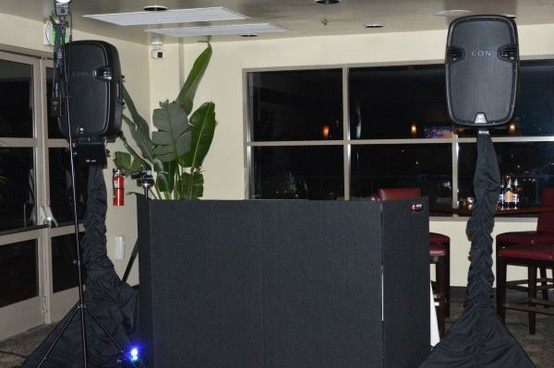 dj setup with facade and skirts for the speakers sea cliff country club. Black Bedroom Furniture Sets. Home Design Ideas