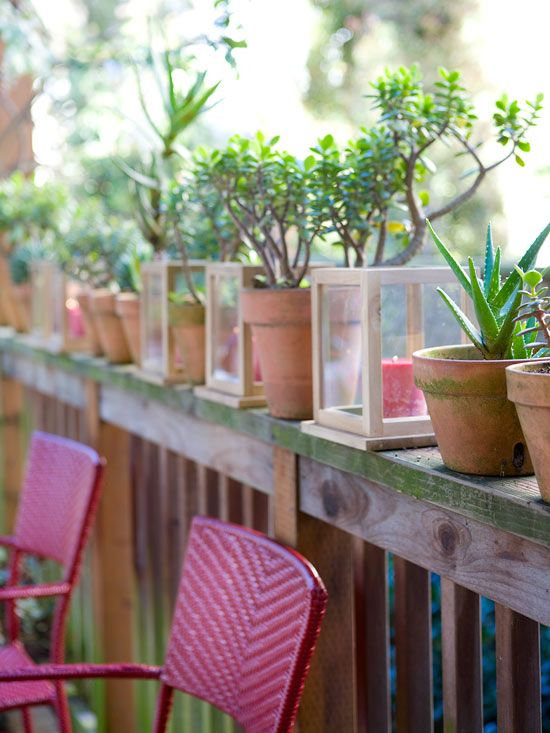 Line your deck with potted plants and lanterns filled with colorful candles for a simple outdoor party decoration. More outdoor party decor: http://www.bhg.com/party/birthday/themes/colorful-outdoor-party-decorations/?socsrc=bhgpin071012