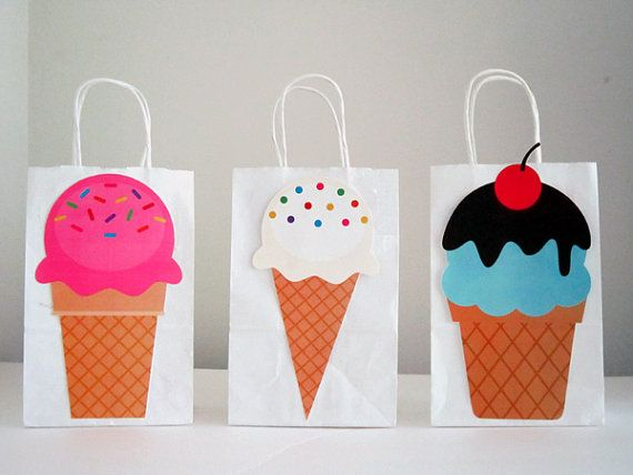 Ice Cream Party Favor Goody Gift Bags by CraftyCue on Etsy