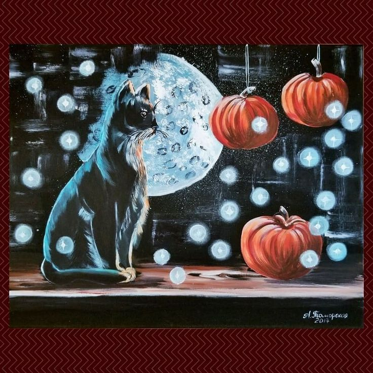 """Black Cat and Pumpkins"". Halloween acrylic painting. Acrylic on canvas. 16"" x 20"".2017.  Unframed. Ready to hang. Worldwide delivery in safe packaging. #halloween2017#хэллоуин#madeincanada#halloweennight#halloweenart#живописьмаслом#продажакартин#картинанапродажу#etsysellersofinstagram"