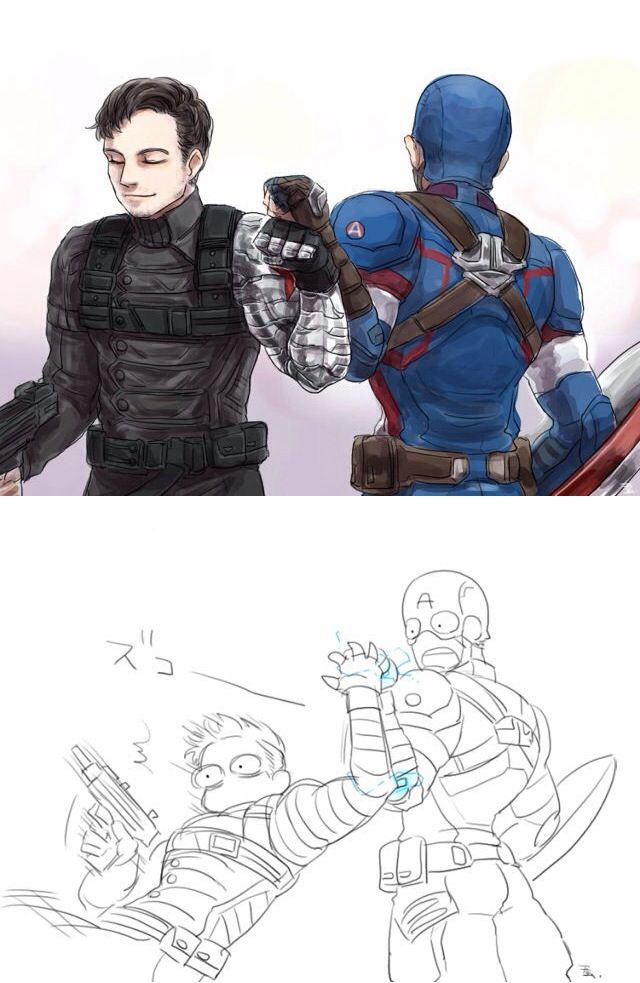 Cap and Bucky | The magnetic catches on Steve's gauntlets take Bucky by surprise.
