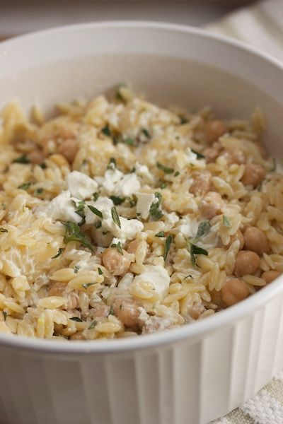 Orzo with goat cheese, lemon and garbonzo beans