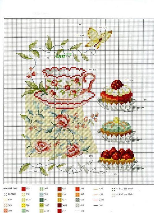 0 0 point de croix grille et couleurs de fils tasse de thé et patisseries