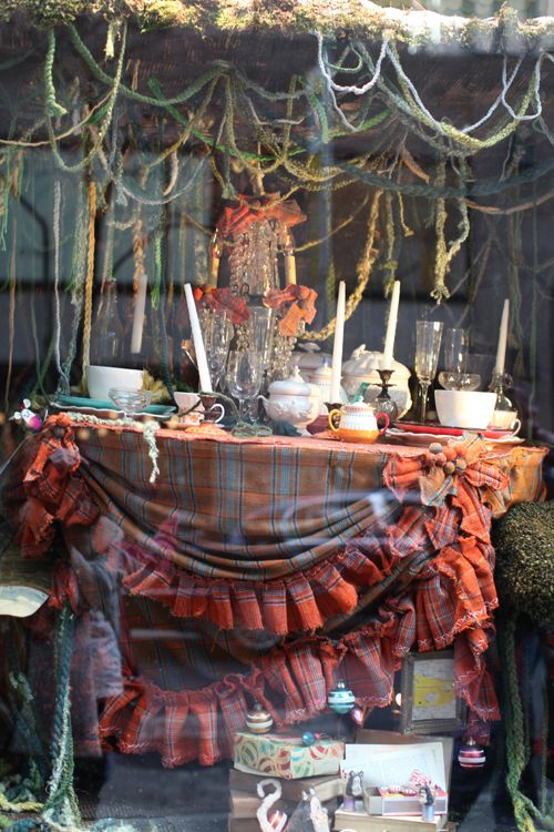 Anthropology New York window...love the plaid ruffled tablecloths!