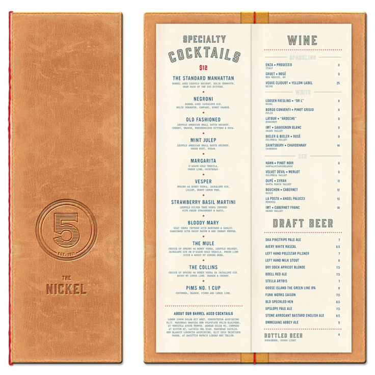 "The Nickel restaurant in Hotel Teatro in Denver—drinks menu design by The Made Shop. ""We named their new restaurant 'The Nickel' after a giant vault we found in the basement that used to hold the tram fares: a nickel a ride."""