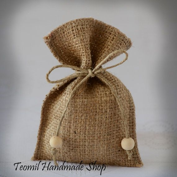 Rustic Burlap Favor Bag Gift Bag Candy Favor Bag or by Teomil, $99.00