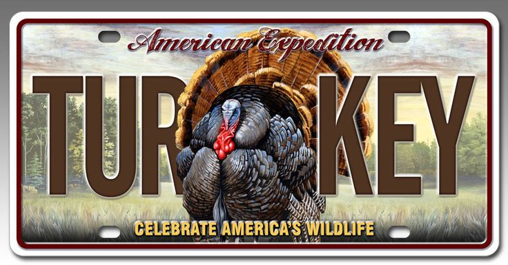 Metal License Plate for Car or Truck - Wild Turkey