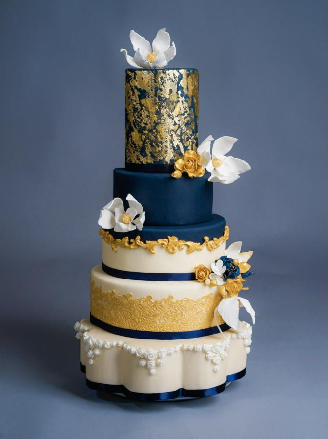 blue gold wedding cakes navy and gold wedding cake by bunnybakes cakes amp cake 11987