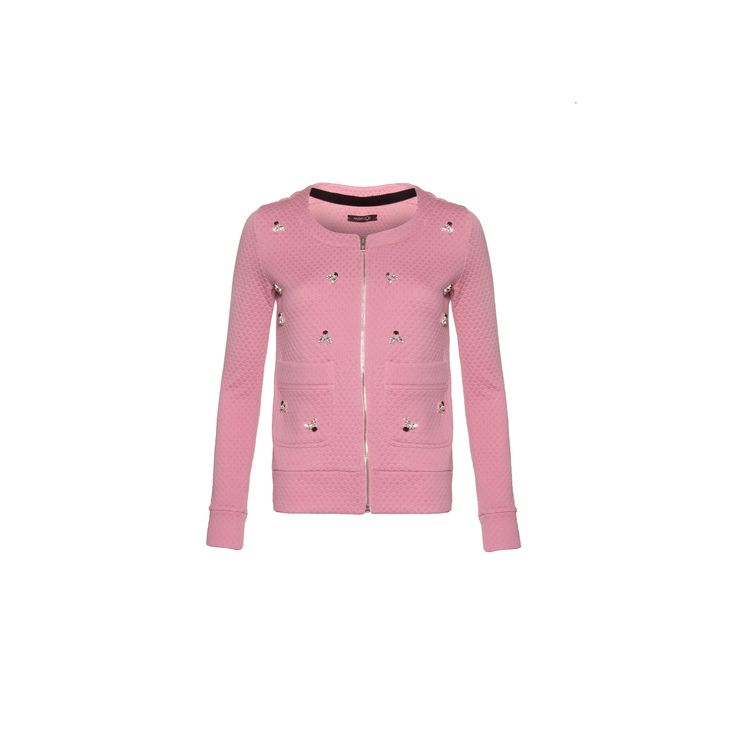 Naughty Dog #FW1415 pink quilted cardigan decorated with swarovski elements.