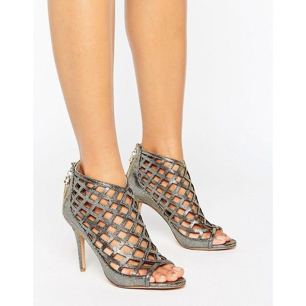 Forever Unique Cynthia Caged Heeled Sandal ($75) ❤ liked on Polyvore featuring shoes, sandals, gold, high heel sandals, zipper sandals, metallic heeled sandals, high heel shoes and cut out sandals