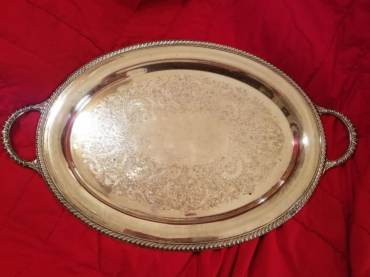 Vintage Wm. Rogers Silver Plate Large Oval Serving Tray With Handles | Antiques, Silver, Silverplate | eBay!