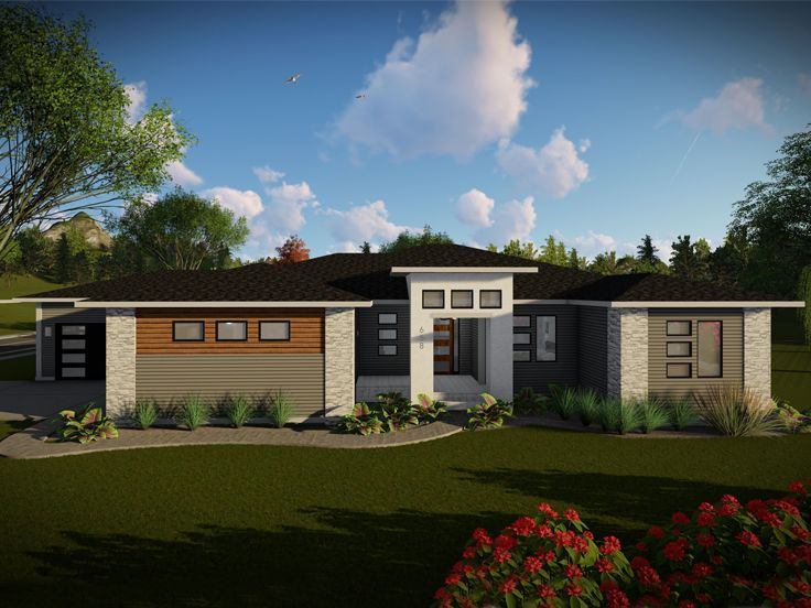 020h 0489 Contemporary Ranch House Plan With 4 Car Garage Ranch