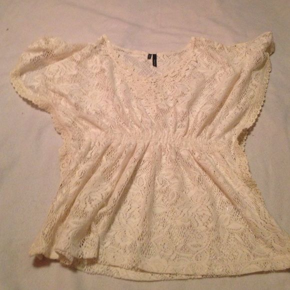 Beige crochet shirt never worn no tags Cute❤️❤️beige crochet short sleeve top with little pearls at neckline Maurices Tops Tunics