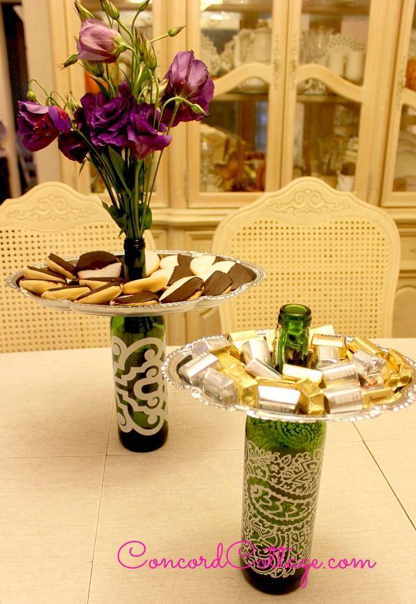Botellas recicladas para centro de mesa o bandeja de presentación - Wine Bottle Trays
