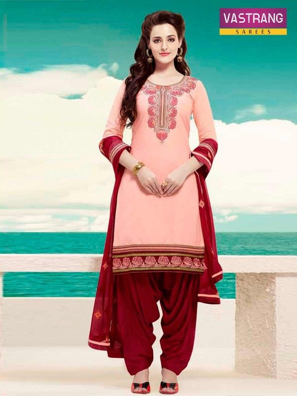 #Pink and #Red Embroidered Patiala Suit for new collection of Women Grab Here @ http://goo.gl/cT5MQq #NaarikeSangVastrang