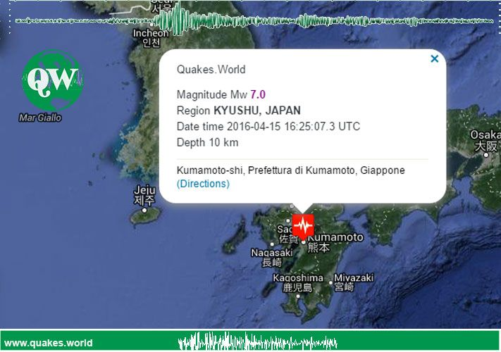 The April 15, 2016 M 7.0 earthquake north of Kumamoto, on the island of Kyushu in southwest Japan, occurred as the result of strike-slip
