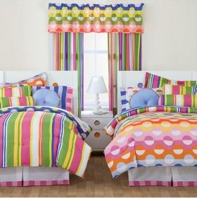 If you love color and you're looking for reversible bedding for a girls bedroom you can't beat these bed in a bed sets from Little Miss Matched. Discover more kids room decorating and organizing tips and ideas @ http://kidsroomdecorating.net