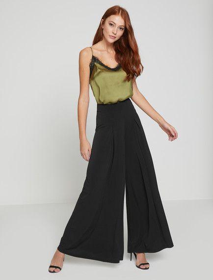 4619d741a06ce Siyah bir pantolon modeli mi arıyorsunuz? Koton''un siyah bayan geniş paça  pantolon