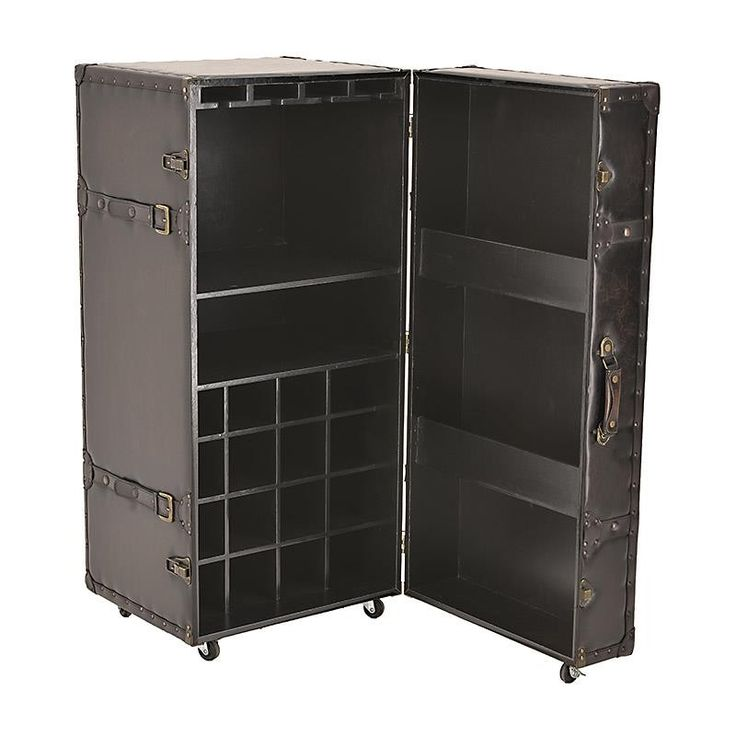 METAL TRUNK /WINE CABINET W/PU DETAILS 51X49X104 - Chests - FURNITURE