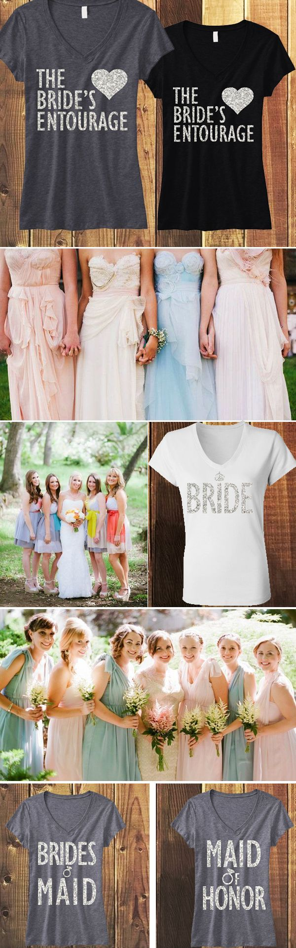 Glitter Wedding shirts for the Bridesmaids, Bride, Maid of Honor, and more! Mix and Match to fit your Bridal Party. Click here to buy http://nobullwoman-apparel.com/collections/bridal-shirt-packages/products/bridal-wedding-5-shirts-15-off-bundle