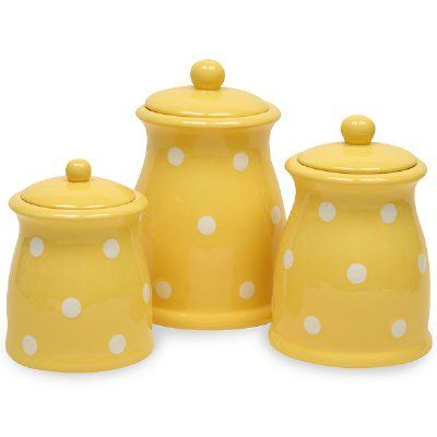 yellow polka dots 3 pc canister set would love this in lime aqua