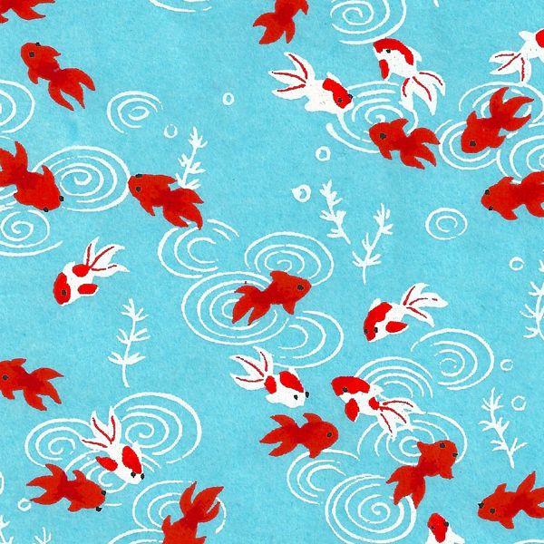 Papier Japonais / Sérigraphie poisson carpe rouge sur fond bleu - Adeline Klam