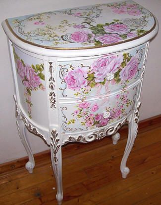French demi-end table handpainted by Catherine Risi.
