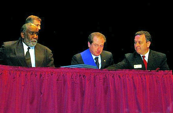 Sarasota Mayor Fredd Atkins and Treviso Province President Leonardo sign the twinning agreement withnessed by SSCA City Director for Treviso Mirco Chodi on February 29, 2007 on stage of the Historic Asolo Theater at the John & Mabel Ringling Museum of Art
