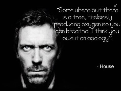 """Somewhere out there is a tree, tirelessly producing oxygen so you can breathe. I think you owe it an apology."" Dr. Gregory House; House MD quotes"