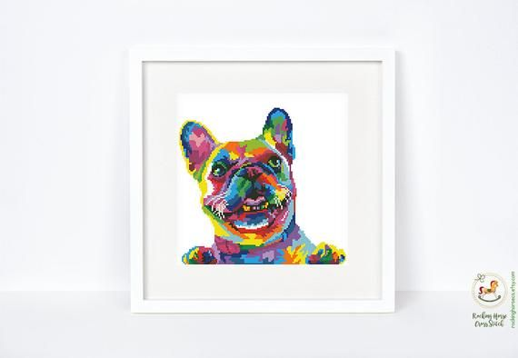 Colorful French Bulldog Cross Stitch Pattern Frenchie Cross
