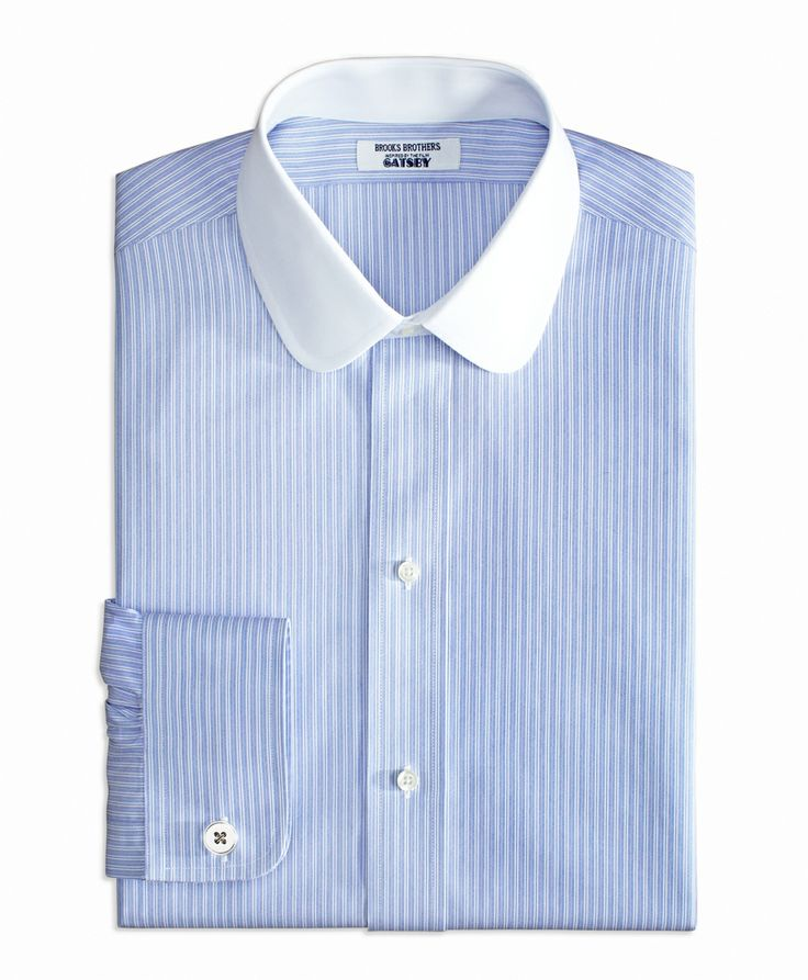 brooks brothers blue striped non iron shirt with