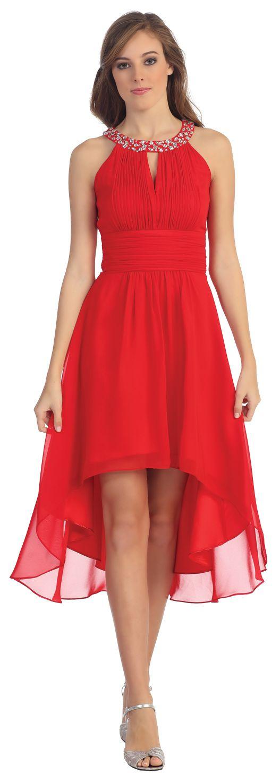 Semi Formal Red High Low Dress Jewel High Neck Keyhole Bodice  $135.99