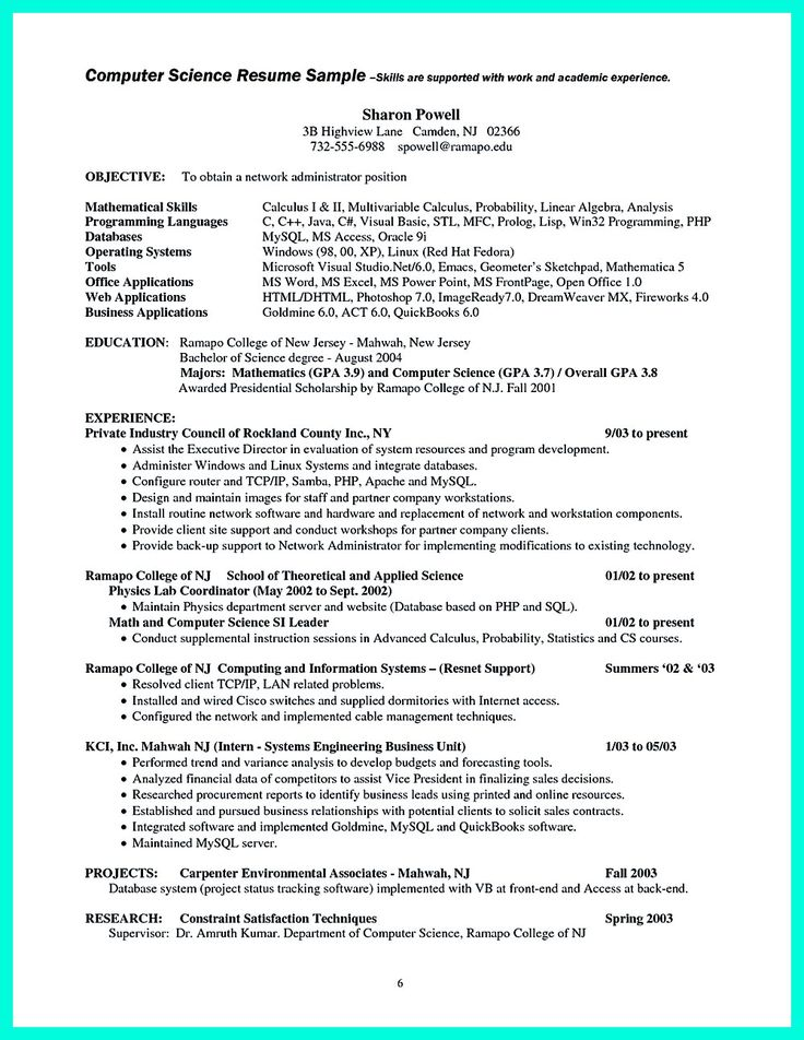 data scientist resume example template - Computer Science Resume Sample