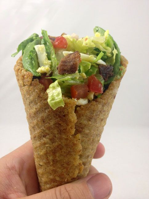 Cobb Salad in a Crouton Cone - makes me wish I had a waffle cone maker... Any suggestions on another way to make a crouton cone?
