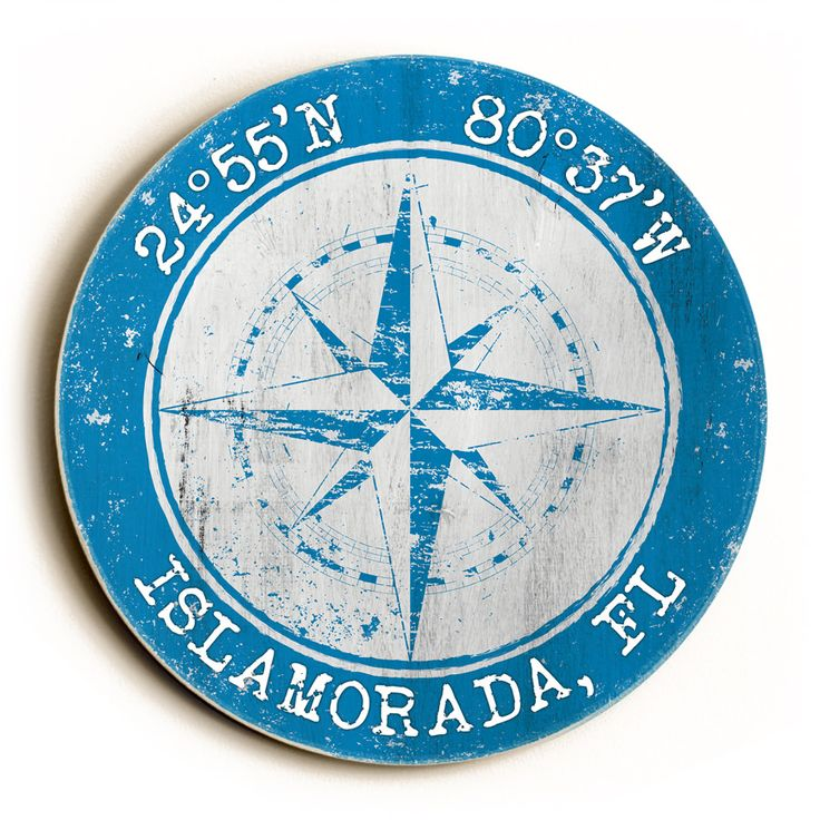 Custom Coordinates Round Sign - Blue Just ordered one of these for the beach house!