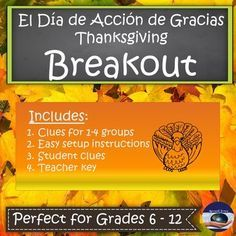 Are you wondering what to do to keep your students engaged before the much needed Thanksgiving break? Then this Breakout is for YOU!! What will be the fate of Carlitos la Calabaza or Paco el Pavo? Only one group will get to find out in this exciting Breakout and you get to decide which story line you want to use.